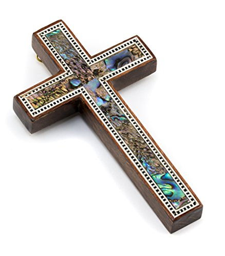 Leolana handmade Wall Cross - inlaid with Mother of Pearl & Paua Shell (4.7