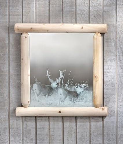 Mirror Log Etched W/Deer