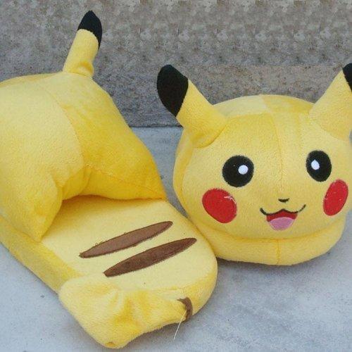 New Cute Pokemon Pikachu Soft Plush Slipper Stuffed Yellow Cartoon Toy Gift - 1