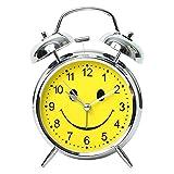 【Y's factory】 子供 部屋の インテリアにも!! スマイル 目覚まし 時計 置き 時計 アラーム インテリア クロック ニコちゃん バッジセット (シルバー×イエロー)