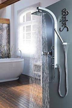 silbeners duschpaneel duschs ule mit massaged sen von sanlingo us160. Black Bedroom Furniture Sets. Home Design Ideas