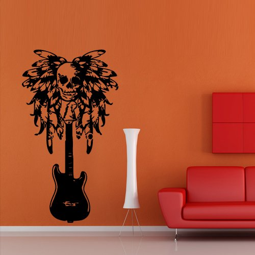 Wall Decal Vinyl Art Decor Sticker Design Music Guitar Tool Skull Sugar Feather String Note Mural Bedroom (M1085) front-793213