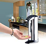Automatic Soap Dispenser, Homitex Automatic Hand Touchless Sensor Soap Pump Stainless Steel Sanitizer Dispenser With Wall Mounted Touch-free Kitchen Bathroom Chrome Ultra-large Capacity 17oz./500ml