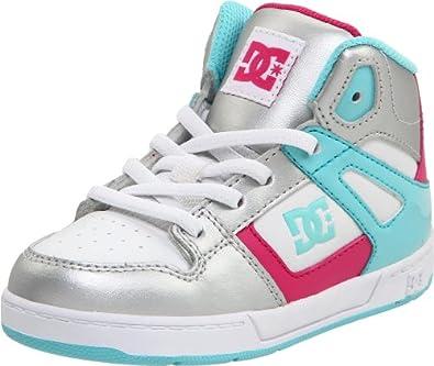 DC Kids Rebound Skate Shoe (Toddler),Metallic Silver/Ocean,5 W US Toddler