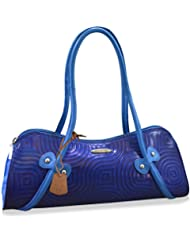 Arpera Abstract Genuine Leather Handbag Blue C11526-5