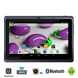 """Tagital® T7X 7"""" Quad Core Android 4.4 KitKat Tablet PC, Bluetooth, Dual Camera, Play Store Pre-installed, 2016 est Model Bundled with Keyboard Black"""