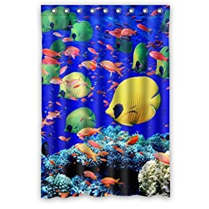 Tropical colorful coral fish underwater ocean for Tropical fish shower curtain