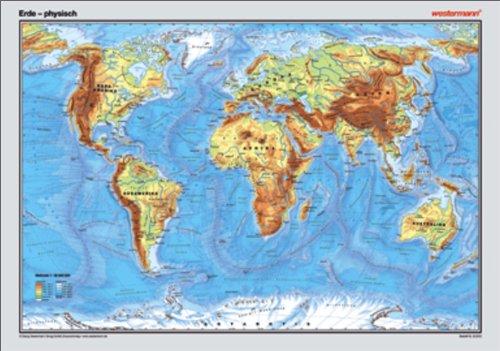 Westermann Posterkarte Erde physisch 1 32 000 000 Oberflächenrelief mit Landhöhen, Untermeeresrelief mit Meerestiefen,