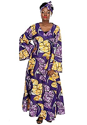African Planet Women's V-neck Wrap Around Wax Bell Sleeves Gele Headwrap