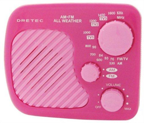 DRETEC AM/FM 防滴ラジオ 「ラーク」 ピンク PR-315PK