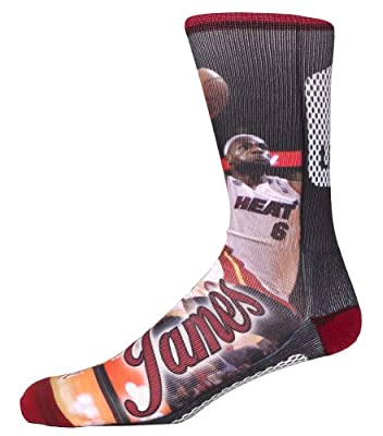 For Bare Feet Miami Heat Nba Lebron James Crew Sock Black Large