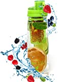 Infuser Water Bottle - Hot Green, Designer Sports Tritan Bottle, BPA Free - Stylish Infusion Reusable Drink Filter Bottle for Girls, Guys, Kids - Your Own Healthy Fruit + Veggie + Herb Saturated Infused Flavor Water - 100% Satisfaction Guarantee