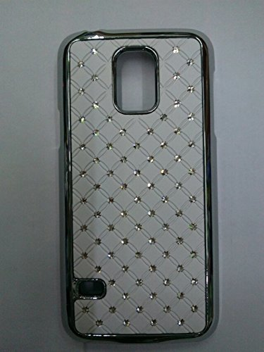 Maclogy 2014 Latest Fashion Design Luxury Dazzling Rhinestones Shiny Crystal Diamond Plating Protective Shell Trapped Difficult Cases Samsung Galaxy S5 I9600 And Fashion Chain Crystal Ornaments Color Uv Radiation Gifts (White)