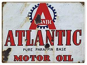 Amazon.com: Atlantic Motor Oil And Gas Sign Garage Art Reproduction