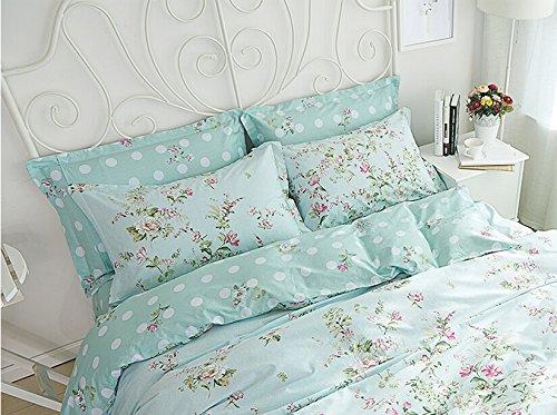 Sisbay Spring Rural Bedding Set Vintage Cotton,New Design Elegant Floral Duvet Cover,Girls Wedding Bed Sheet Full,4pcs 5