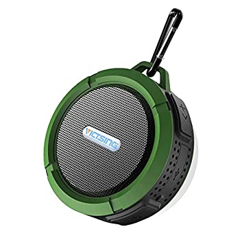 VicTsing Shower Speaker, Wireless Waterproof Speaker with 5W Drive, Suction Cup, Buit-in Mic, Hands-Free Speakerphone - Army Green