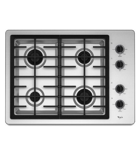 Whirlpool W5CG3024XS 30 Gas Cooktop with 4 Sealed Burners Stainless Steel (30 Whirlpool Cooktop compare prices)