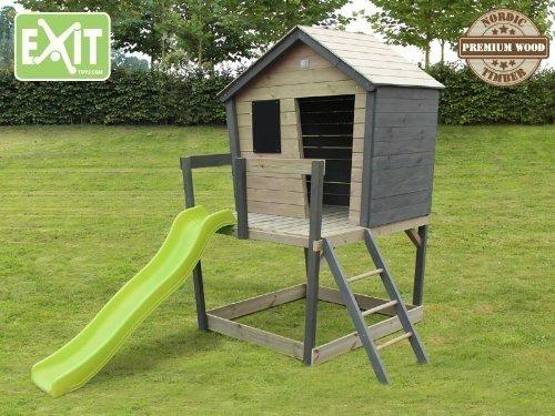 EXIT Aksent Spielhaus mit Podest, Veranda + Rutsche / Material: Nordisches Fichtenholz / Maße: 121x130x225 cm / Gewicht: 90 kg jetzt kaufen