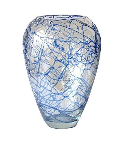 Jozefina Art Glass Sea Vase Art Glass, Clear/Blue