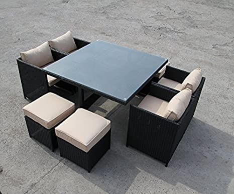Rattan Garten Outdoor Cube Tisch und Stuhle Gartenmöbel Gartenmöbel-Set