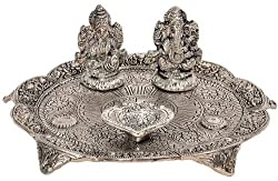 Little India White Metal Lord Laxmi Ganesh with Dia Thali (22.86 cm x 22.86 cm,HCF320)