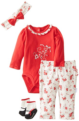Vitamins Baby Baby-Girls Newborn Holiday Floral 4 Piece Creeper Pant Set, Red, 9 Months front-847969