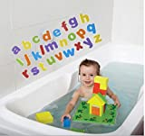 Edushape Floating Blocks - Includes 15 Foam Blocks, 20 Floating Numbers, about 66 Floating Lower Case ABCs and Construction Board - Also Includes Net Bag for easy storage