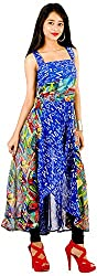 vogue4all Women's Georgette Tunic Dress (Blue & Green, Large)