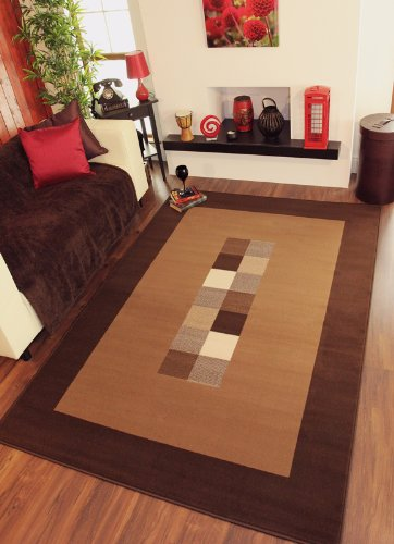 Ultra Modern Dark  &  Light Brown Extra Large Rug 10 Sizes Available 240cm x 330cm (7ft 10