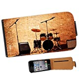 Warm Up Ready Drum Set Amplifiers Leather Flip Case Cover for Apple iPhone 4 iPhone 4S