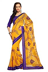 Anvi Yellow chiffon designer saree with unstitched blouse (1552)