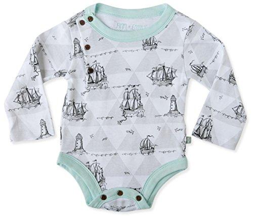 Finn + Emma Organic Cotton Baby Boy Long Sleeve Bodysuit 9-12M - Boat