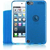 5G Touch Blue Silicone Protective Armour Case + Sock Cover & Screen Protector Kit for New Apple iPod Touch 5th Generation - 32GB 64GB