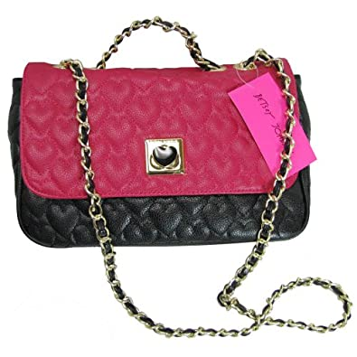 Betsey Johnson Womens Be My Wonderful Flapover Shoulder Bag, Black/Fuchsia