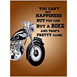 The Racoon Bike Happiness Poster Laminated Matte Finish, Small (18 X 12 In)