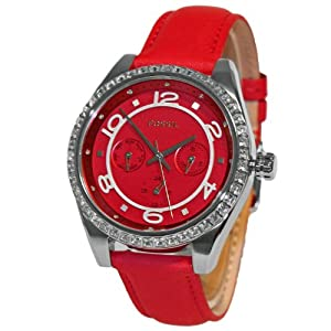 Fossil BQ1091 Women's Analog Steel Watch Red Leather Band Multifunctional Dial