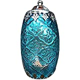 Indoor/Outdoor Blue/Green Candle Lantern. Tea lights, votive candles or LED can be inserted from the bottom. Use it to enhance romantic evenings, make parties more fun and festive, outdoor living rooms. The material is patterned glass and metal and comes with a chain and hook for hanging. It has a flat bottom for sitting on a table too.