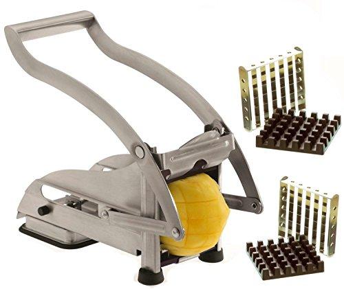 Pommes-Frites-Schneider-Set-aus-Edelstahl-Mit-Saugfu-und-2-Extra-Scharfen-Klingen-Fr-dnne-oder-grere-Pommes-Fritten-schneider-Gemse-schneider-Eignet-sich-fr-andere-Gemsesorten