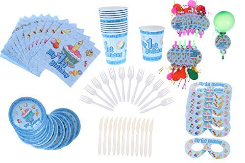 1st Birthday Baby Boys Party Supplies Kit Accessories Set - Blue My First Birthday Decorations Napkins Cups Forks Knives Plates Masks Party Blower