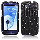 Importer520 Rhinestone Crystal Bling Diamond Hard Case Cover for Cricket/MetroPCS/Verizon/Sprint/AT&T/T-Mobile Samsung Galaxy Galaxy S3 SIII I9300 (Black)