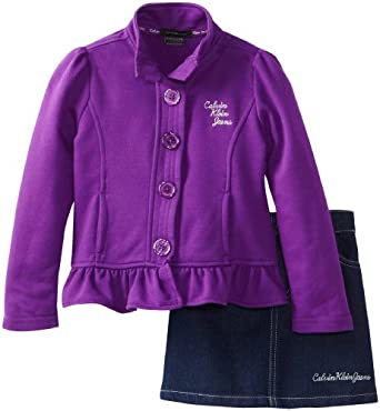 (3折)Calvin Klein卡尔文 Girls 2-6X Jacket with Denim Skirt女童外套牛仔裙套$16.4