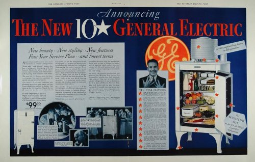 1933 Double Page Ad GE General Electric Refrigerator - ORIGINAL ADVERTISING - Original Print Ad