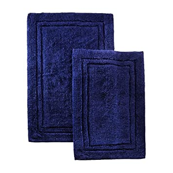 Superior 2-Piece Cotton Bath Rug Set, Navy Blue