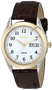 Seiko Hommes SNE056 montre solaire Cadran Bracelet Blanc