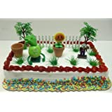 Plants vs Zombies Birthday Cake Topper Set Featuring 3 RANDOM Plants vs Zombies Figures and Decorative Themed Accessories