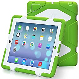 ipad 2/3/4 case,kidspr ipad case *NEW* *HOT* Super Protect[shockproof] [rainproof] [sandproof] with Built-in Screen Protector for Apple iPad 2/3/4,2015 new style for ipad 2/3/4 (Green/White)