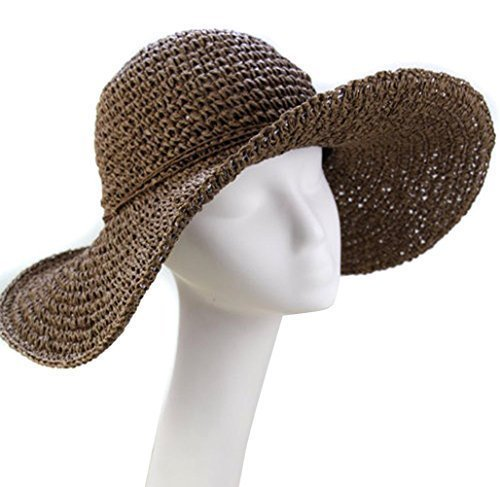 Brotechno Fashion Korean Style Floppy Wide Brimmed Summer Beach Bow Hat Women's Straw Sun Hat Cap Wide Brim Roll-up Crocheted Hats Bohemia Straw Sun Hat for Holiday Travel Beach Swimming Beach Straw Hat by Brotechno