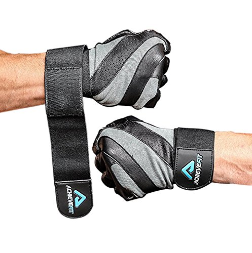 ACHIEVE FIT Weightlifting Gloves - Leather Palm for Fitness savvy Men & Women, Firm Grip, Control & Comfort for Weight lifting, Powerlifting, Crossfit Training, Gym Workout (Medium, With Wrist Wraps)
