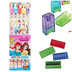 Disney Princess Smencils Scented Pencils Bundle, includes sharpener and magnetic pencil pouch