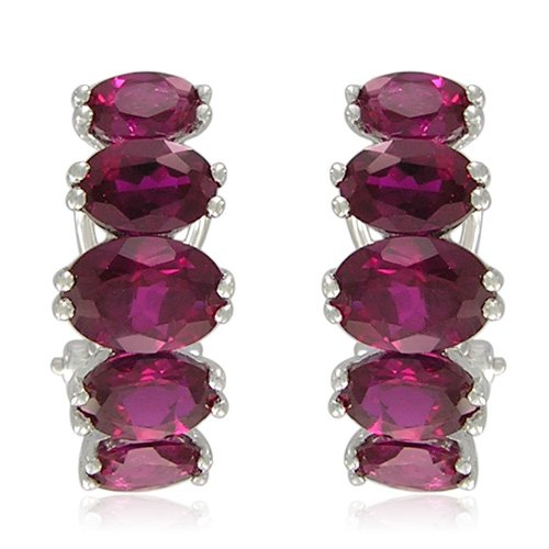 Sterling Silver Oval-Shaped Created Ruby Earrings